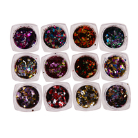 12 Colors Nail Sequins Nail Art Glitter Tips Colorful Glitter For Nail Polish Powder Dust