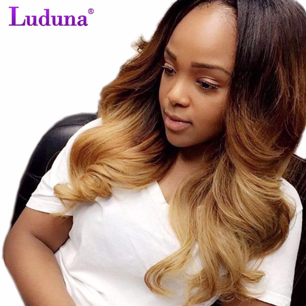 Luduna Ombre Brazilian Hair Body Wave 1Pcs 100g Ombre Human Hair Brazilian Hair Weave Bundles 1B/27 Color Non-remy Hair