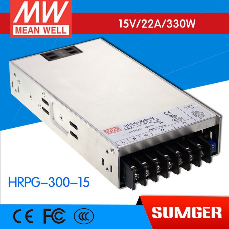 1MEAN WELL original HRPG-300-15 15V 22A meanwell HRPG-300 15V 330W Single Output with PFC Function  Power Supply [mean well1] original epp 150 15 15v 6 7a meanwell epp 150 15v 100 5w single output with pfc function