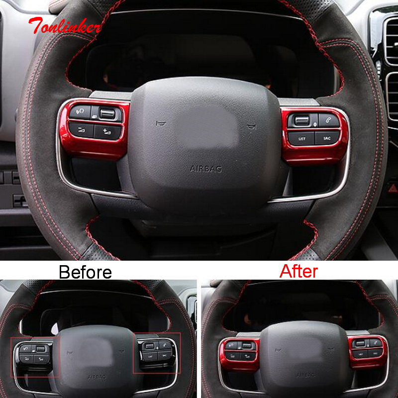 Tonlinker Interior Steering Wheel Panel Cover Case Sticker For Citroen C5 Aircross 2018-19 Car Styling 2 PCS ABS Covers Stickers