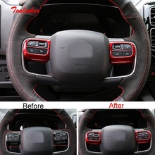 Tonlinker Interior Steering wheel panel Cover case Sticker for Citroen C5 Aircross 2018-19 Car Styling 2 PCS ABS Covers stickers fit for citroen c5 aircross interior steering wheel moulding sequins abs chrome decoration cover 2pcs