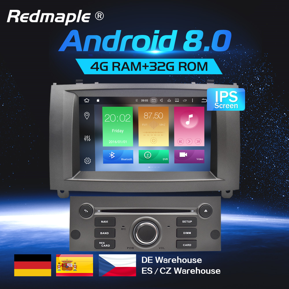 7Android 8.0 Car Radio Player Multimedia Stereo For Peugeot 407 2004-2010 Auto Audio DVD Video GPS WIFI BLuetooth Navigation