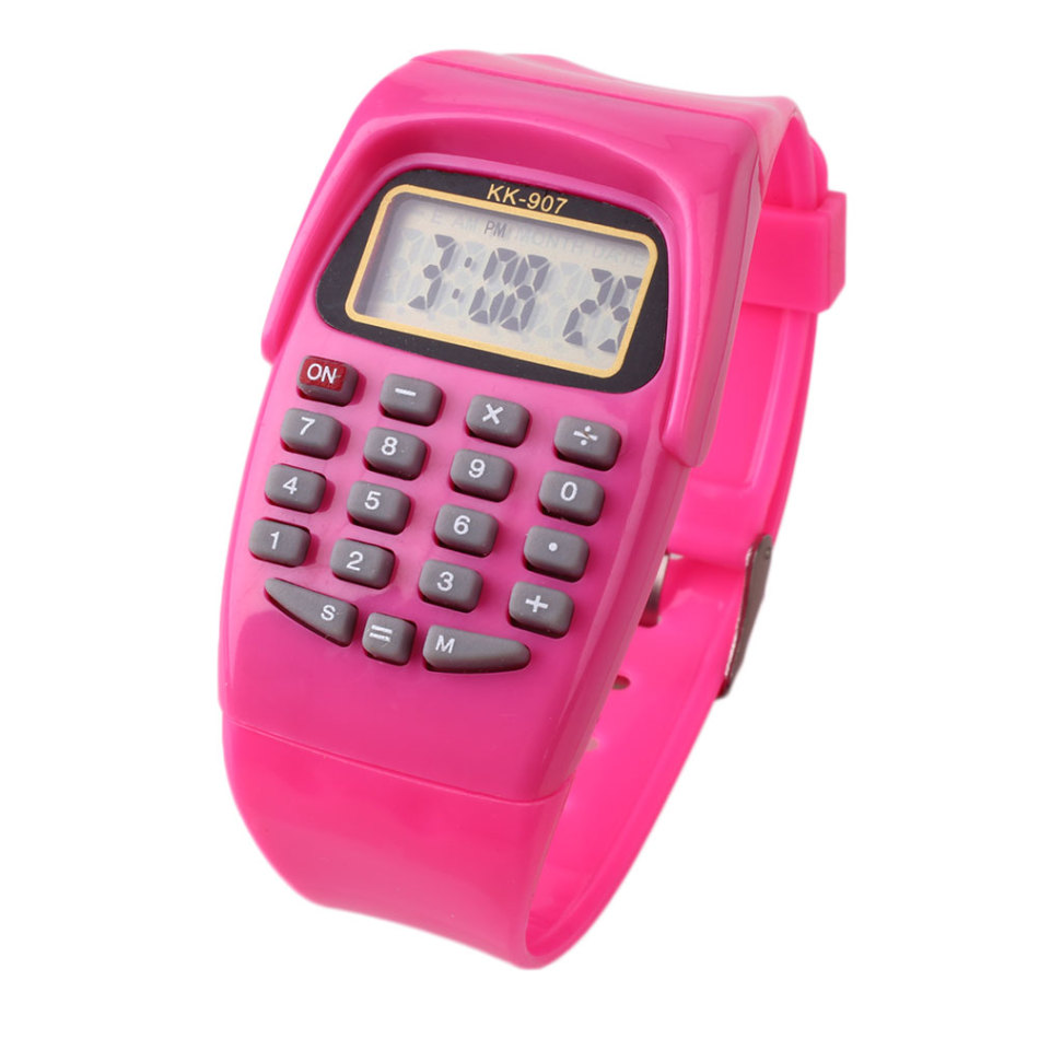 Silicone Multifunction Electronic Calculator Watch Children Electronic Watch Sports Blue/Yellow/Pink