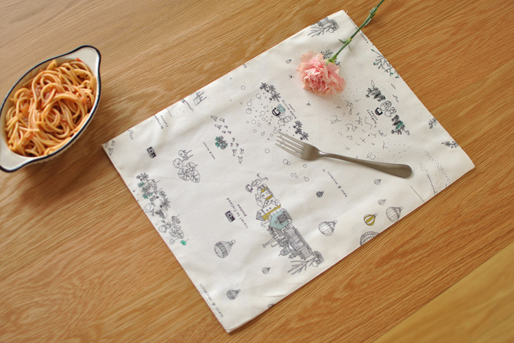 [RainLoong] Cartoon Childrens Table Mat Pad With Lace Thermal Insulation For Tableware Dinning Kitchen Decoration 40x30cm