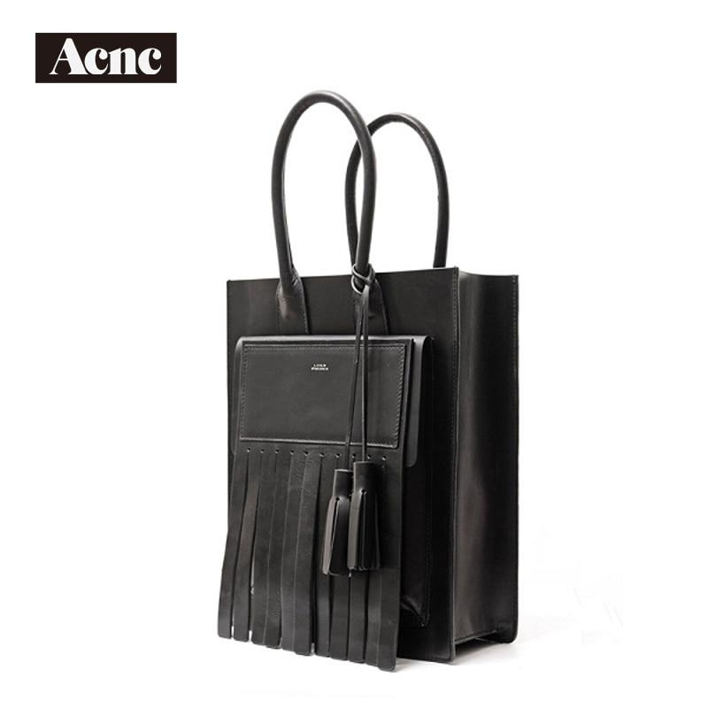 Acnc legend genuine leather large tote bag ,women real leather casual tote bag,lady leather Tassel handle bag