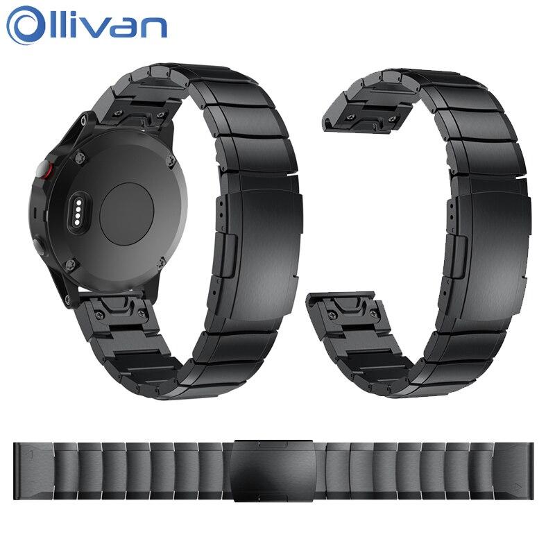 Ollivan Replacement Metal Watch Strap For Garmin Fenix 5 Stainless Steel Bracelet Watchband For Forerunner 935 Wristband 22MM