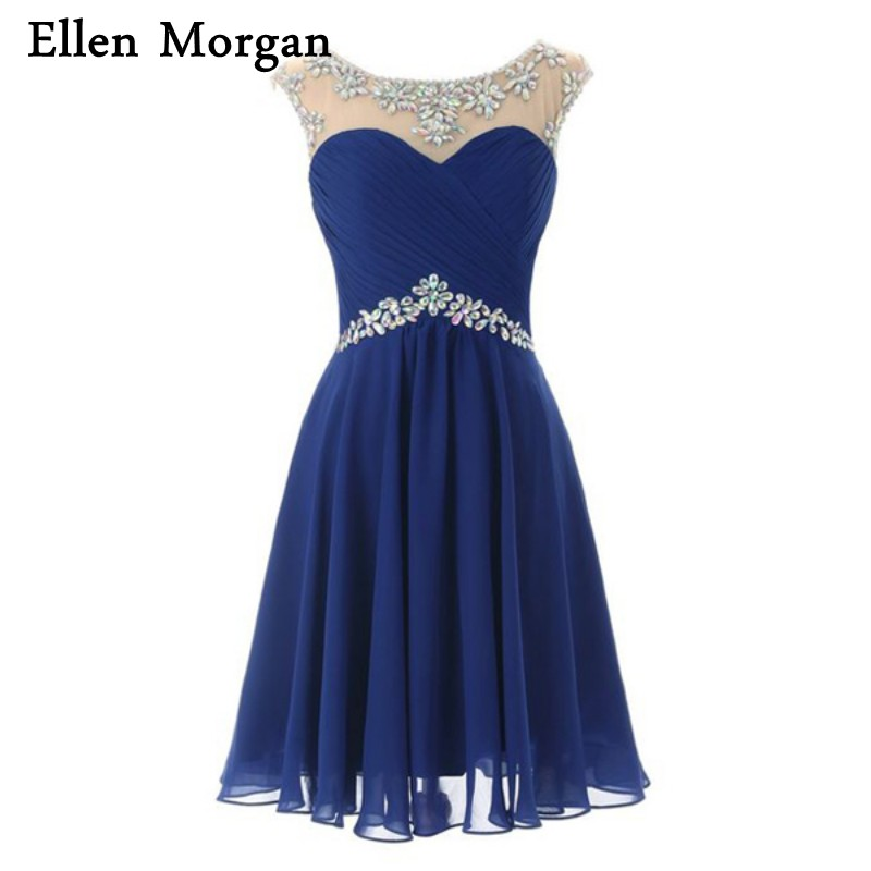 Royal Blue Cocktail Dresses for Girls Back to School Backless Knee Length Chiffon Crystal Cheap Party Homecoming Prom Gowns 2017
