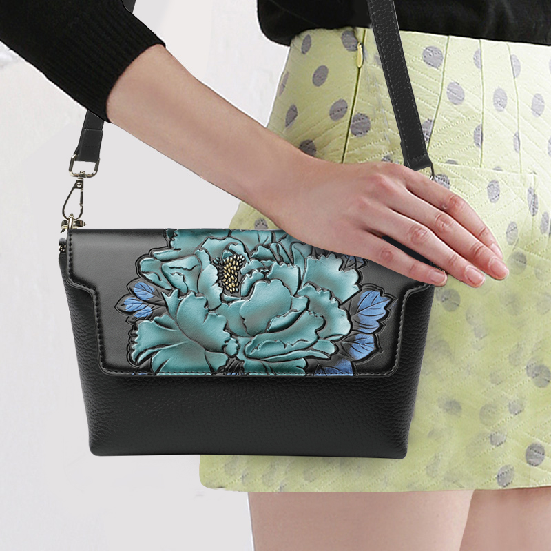 National Style Women Shoulder Bag Genuine Leather Top Leather 3D Flower Pattern Cover Messenger Crossbody Bags Lady Party Flap монитор samsung s24h850qfi