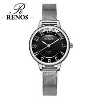 RENOS часы для женщин коробка простой черный, белый цвет наручные часы модные повседневное Lover Пара часы relogio masculino лучший бренд класса люкс