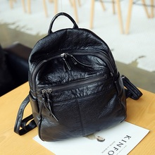 Washable Soft pu Leather Women backpack small simple campus student school bag travel backpack female shoulder bag Daypack black