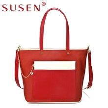 SUSEN 1024 Women Top PU font b leather b font Satchel Handle Shoulder bag Patchwork Color