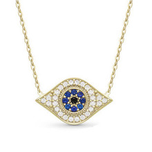 Crystal Evil Eyes Pendants Gold Chain Necklace
