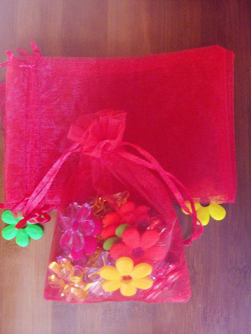 9118374c3 5000 pcs 9 * 12 cm Pure red Organza saco do presente jóias embalagem de  exibição bolsas bolsa com cordão para pulseiras / colar saco de fios
