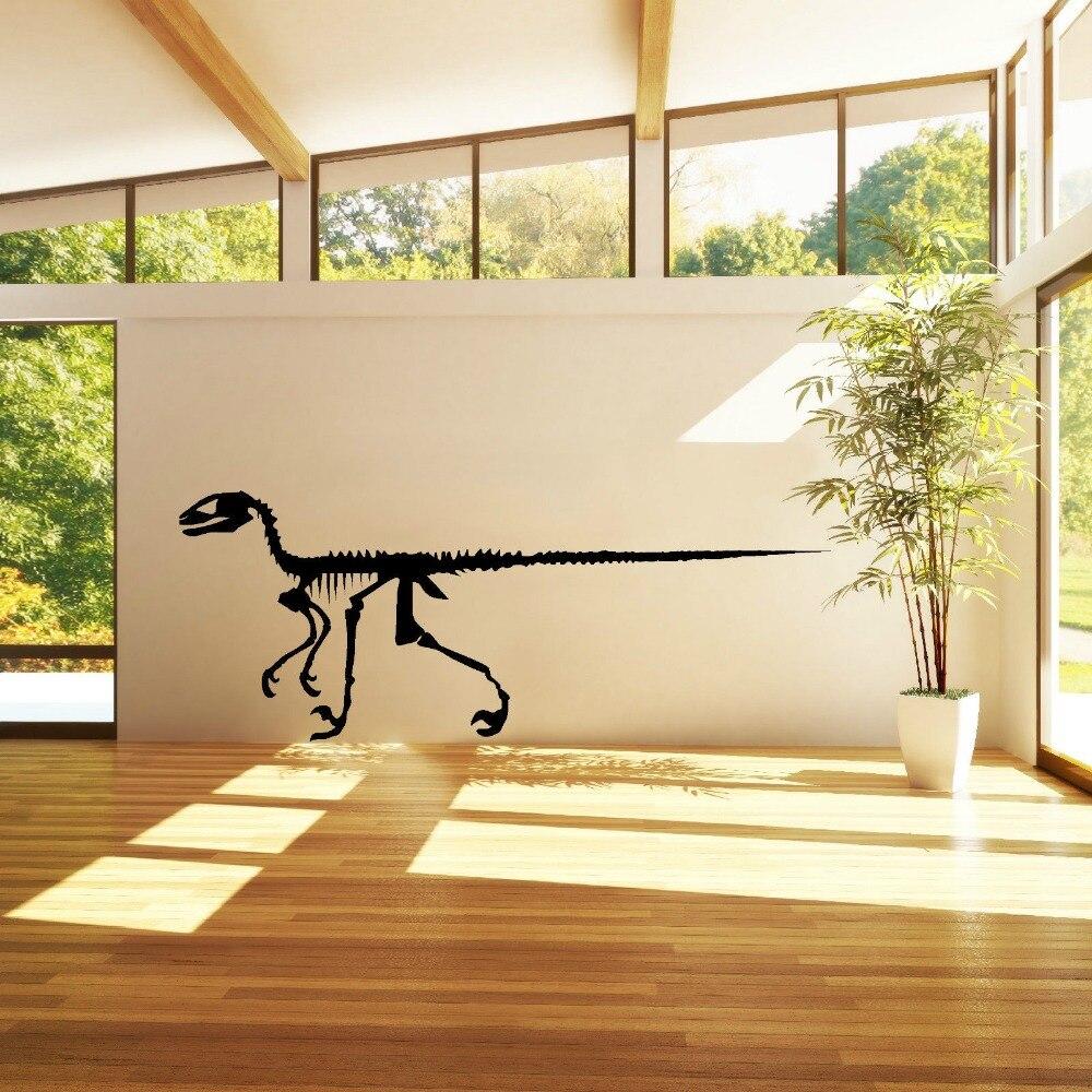 DINOSAURES SQUELETTE RAPTOR wall art sticker vinyle decal Boy Bedroom Wall Decor Wallpaper Mural D385