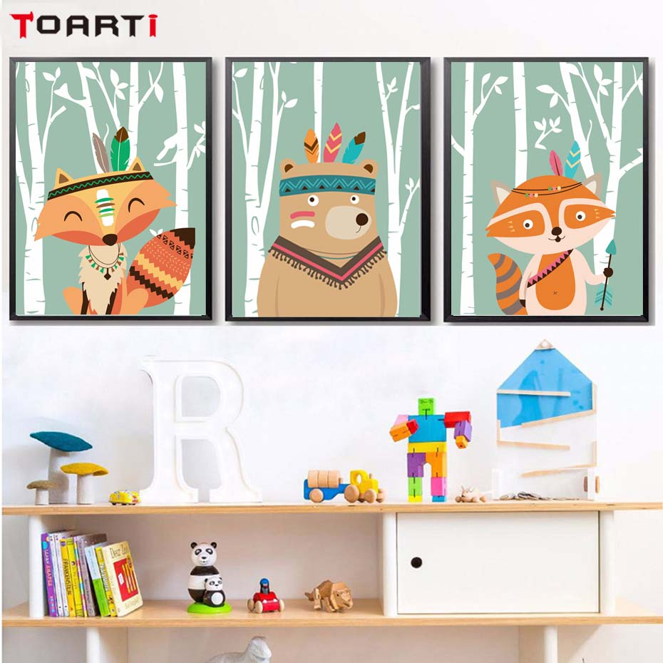Indian Woodland Tribal Animals Fox Bear Posters And Prints Canvas Art  Nursery Decorative Picture Nordic Style Kids Decoration