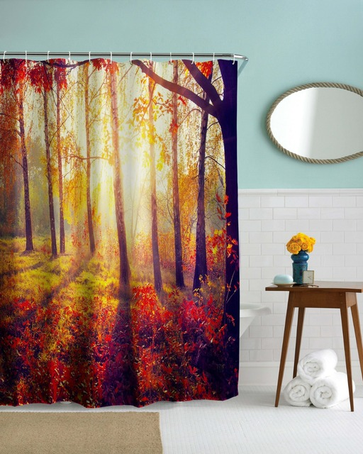 Morning In Woods Bathroom Shower Curtains Waterproof Polyester 3D Colorful Forest Bath Tree Cortinas Home