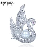 Wholesale Rhinestone Brooches Matte Silver Swan Imitation Pearl Brooch Vintage Unique Style Fashion Jewelry For Women