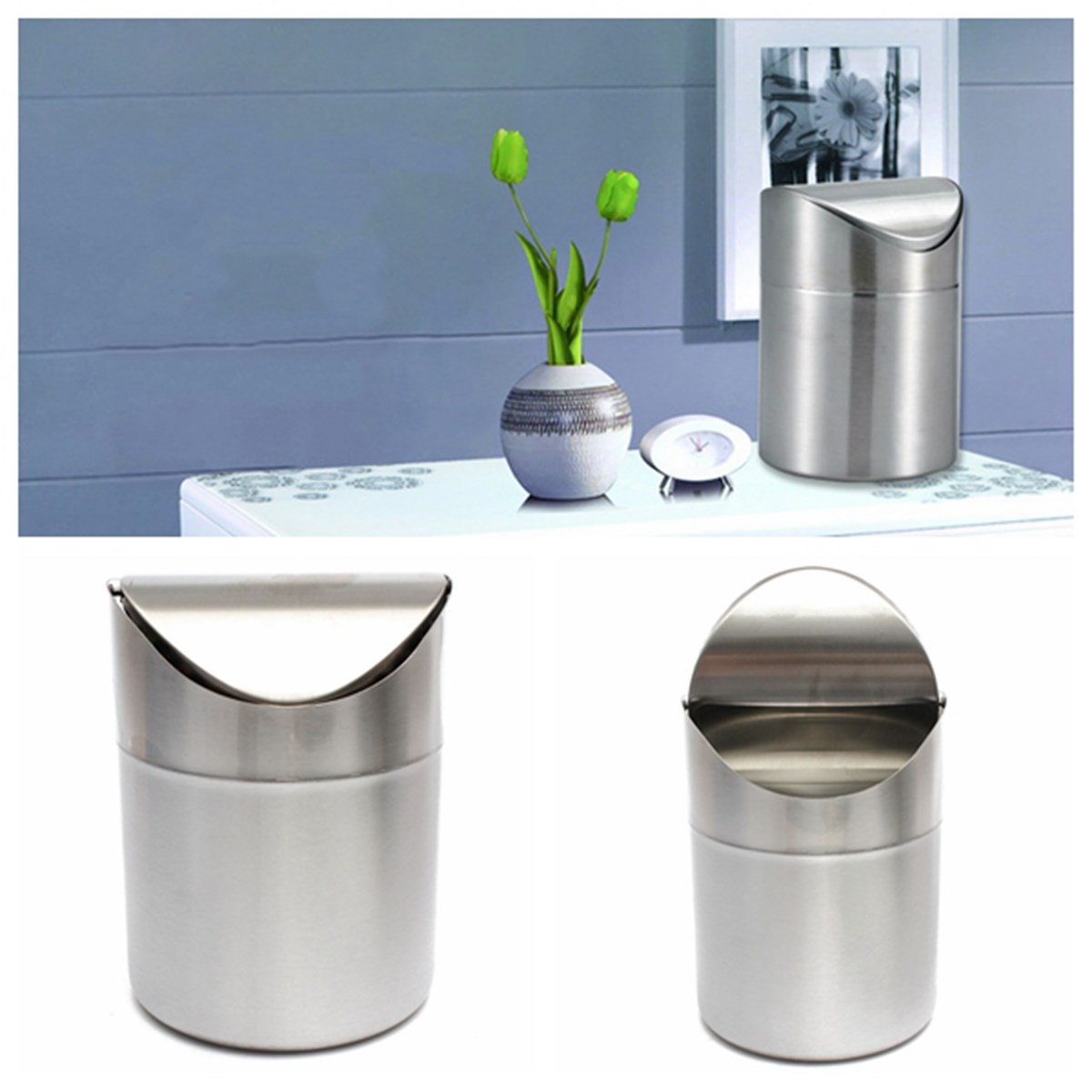 Superior 1.5L Home Small Recycling Bin Swing Lid Kitchen Table Tidy Stainless Steel  Dustbin Trash Can ...