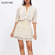 Summer Sexy Hollow Out Lace 2 Piece Set Women V-neck Shirts Tops + Elastic Waist Mini Skirt Ruffles Embroidered Blouse Sets