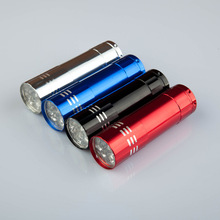 4pcs/lot Mini Aluminum 9 LED Flashlight Outdoor Lamp Torches Penlight LED Flashlight supply by 3AAA battery