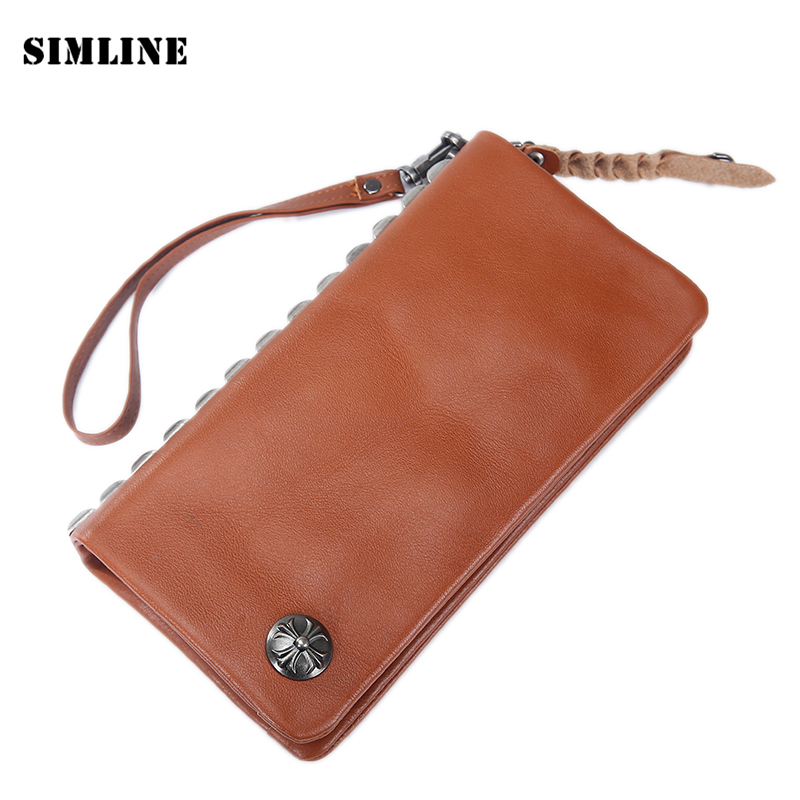 Designer Vintage Handmade Genuine Vegetable Tanned Cow Leather Cowhide Mens Long Clutch Wallet Wallets Card Holder Purse For Men лонгслив printio swag мишка