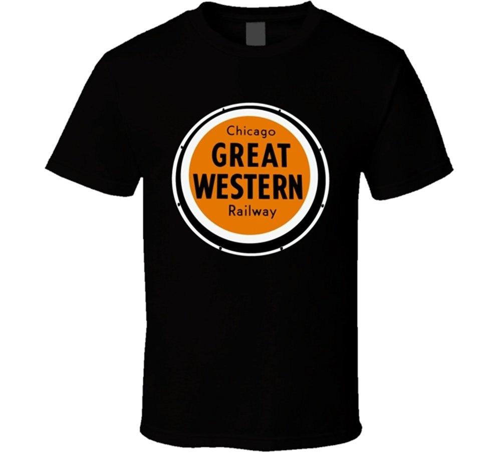 2018 Summer Casual Man T Shirt Chicago Great Western Railway Lo T Shirt Funny Printing T Shirts Men Short Sleeve T-shirts