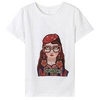 LIENZY Summer Casual Character Print T Shirt Women Cotton Short Sleeve O Neck Basic T Shirt
