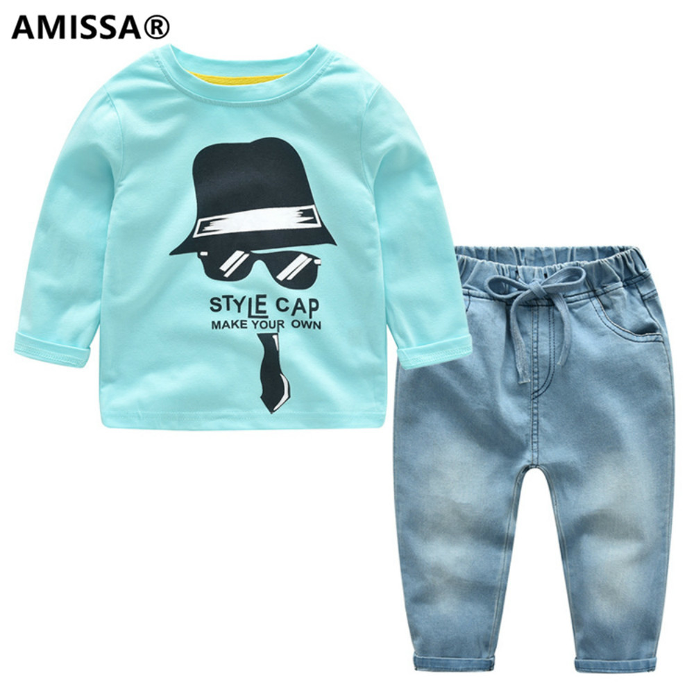 AMISSA 2018 spring boy suit children long sleeved T-shirt jeans two sets of spring autumn kids clothes clothing smart casual spring autumn kids clothing sets clothing sets girls long sleeved shirt jeans suit kids costume 2pcs child clothes yl562