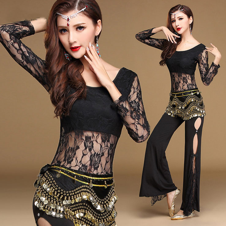 Sexy Lace Belly Danza Oriental Bellydance Disfraces Conjunto para Mujeres Indian Eastern Belly Dancing Ropa Tops Pantalones acampanados Ropa