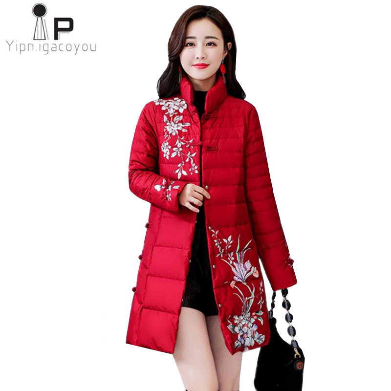 Vintage Winter Jacket Women Long Coat Thick Print Warm Padded Jacket Loose Women Overcoat Fashion Coats Ladies cotton   Parka   4XL