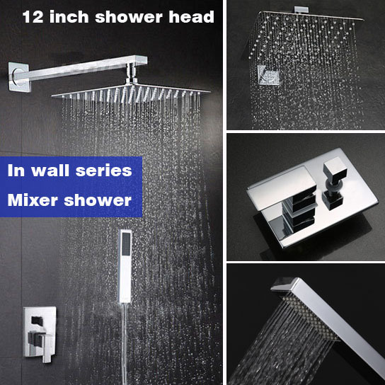 Wall mounted brass material rain shower set bathroom mixer shower faucet with 12 inch 304# stainless steel ultrathin shower head antique brass rain shower set with bronze basin faucet