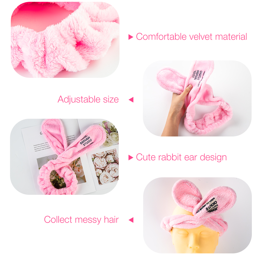 Image 5 - Elastic Rabbit Ears Headscarf Eyelash Extension Soft Face Washing Headband Hair Band Holder Bath Spa Lovely Makeup Accessories-in False Eyelashes from Beauty & Health