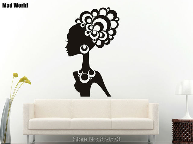 Mad World Funky Woman Silhouette Wall Art Stickers Decal Home DIY Decoration Removable Room