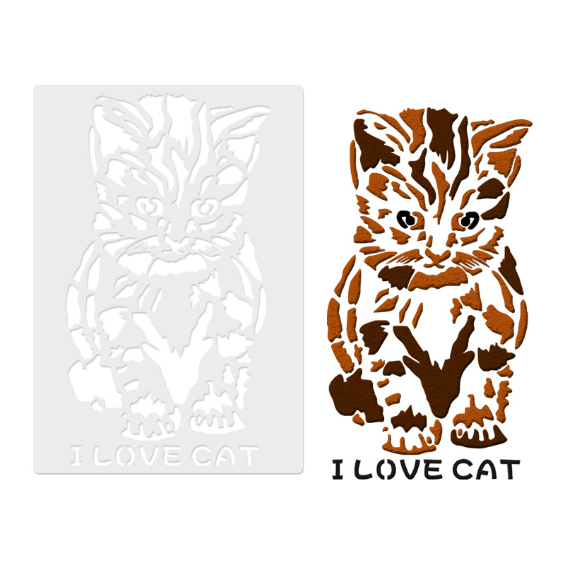26*18cm DIY Craft I Love Cat Design Layering Stencils Template For Wall Painting DIY Fabric Painting Art Photo Album Decorative
