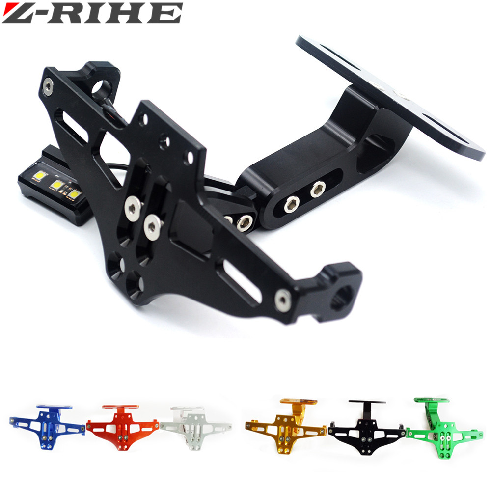Motorcycle Adjustable Angle Aluminum License Number Plate Frame Holder Bracket For Honda CBR 600 RR CBR 1000 RR Hornet 900 YFZR3 motorcycle cnc aluminum license plate bracket licence plate holder frame number plate for suzuki gsxr 600 750 gsx r 600 2006 16