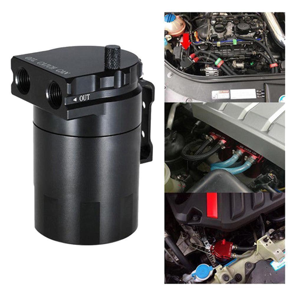 Bouchon d'huile déflecteur en aluminium peut reniflard de réservoir avec raccords solides avec raccords de 9mm et 15mm et jauge d'huile