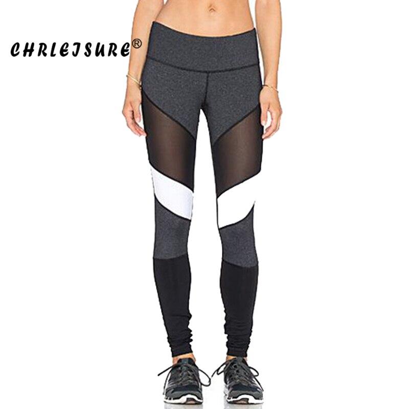 CHRLEISURE S-XL Black White Color Patchwork Leggings  Fitness Pants Trousers Legins Big Size Elasticity Women Mesh Leggings