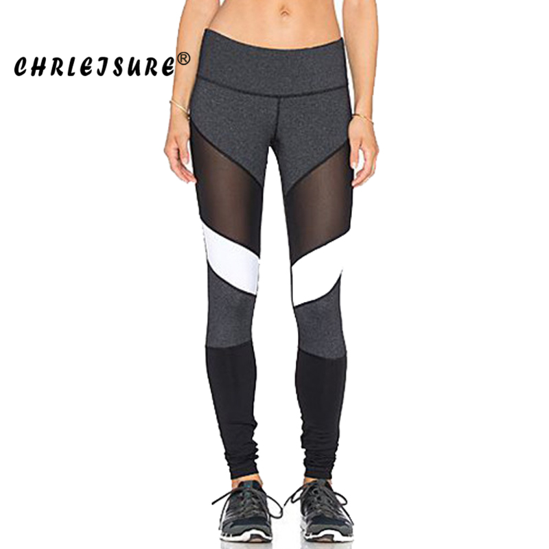 CHRLEISURE S-XL Black White Color Patchwork   Leggings   Fitness Pants Trousers Legins Big Size Elasticity Women Mesh   Leggings