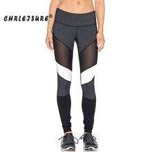 CHRLEISURE S XL Black White Color Patchwork font b Leggings b font Fitness Pants Trousers Legins