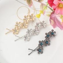 Metal Plum Flower Hair Accessories Hairpins Crystal Rhinestone Hair Ornaments Wave Hair clip Women Bride Wedding Hairgrips