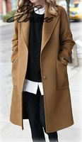 Women's Casual Woolen Coat 2019 Spring Autumn Large Size Loose Blend Winter Jacket Long Sleeve Plus Size Wool Overcoats 5XL Xnxee