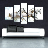 5 Pieces Handsome Runing White Horses Removable Home Decor Large Wall Pictures For Living Room New