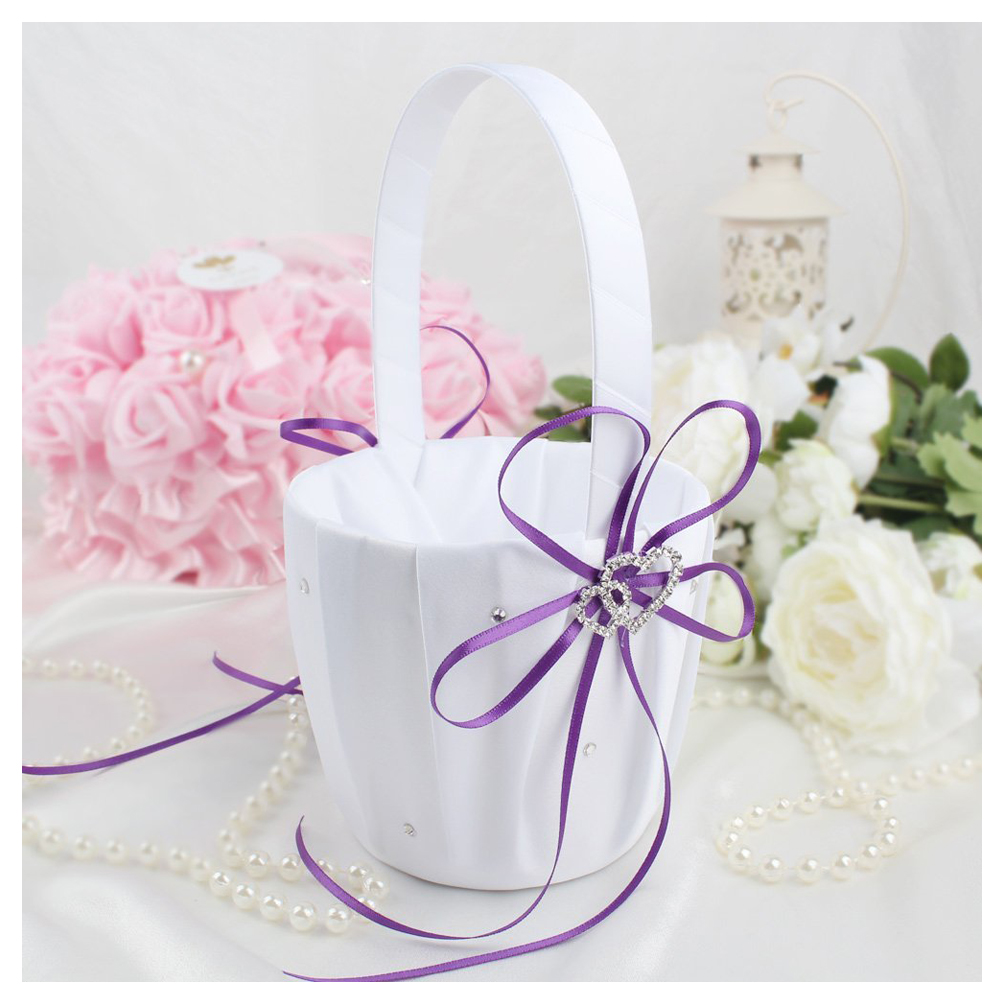 Double Heart Wedding Flower Girl Basket White Satin Rhinestone Decor ...