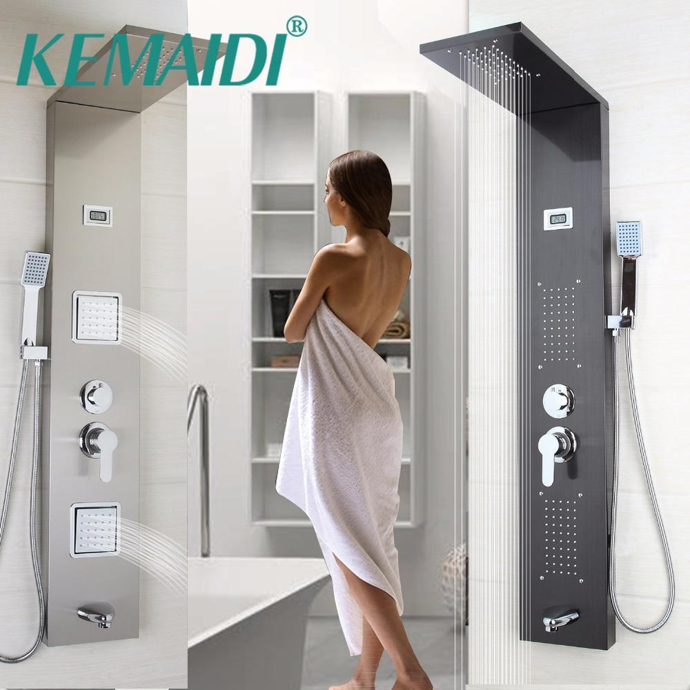 KEMAIDI Современная Настенная одна ручка + ручной душ + Ванна Носик + массажная система душевая панель ванная нержавеющая сталь душевая колонка