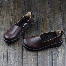 ผู้หญิงรองเท้าแฟลตน้ำตาล/กาแฟ/เขียว/น้ำเงิน100%แท้หนังรองเท้าแบนผู้หญิงรอบนิ้วเท้ายางแต่เพียงผู้เดียวรองเท้า(1023-1)