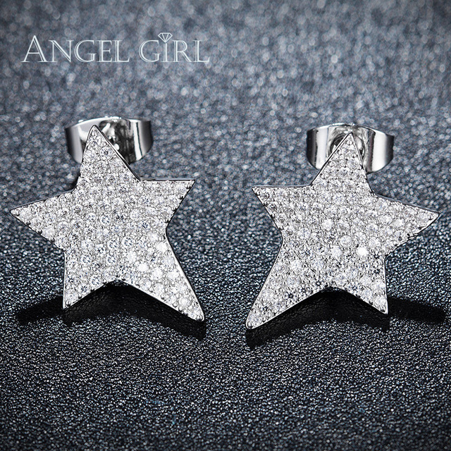 290c6f721 Angel Girl Star Shaped Design Paved CZ Party Earrings for Women White Gold  Color Stud Earrings Hot Sales Bijoux E0004-WW