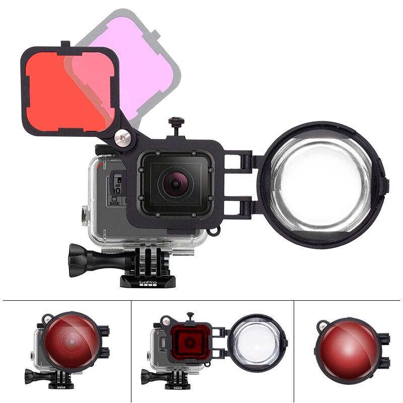 3in1 ensemble de filtres de plongée pour caméra d'action avec objectif Macro 16X pour Gopro Hero 7 6 5 filtre de plongée sous-marine noir Magenta rouge