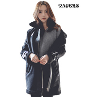 Korean version Casual lady Parkas jacket 2019 autumn winter thicker motorcycle fur jacket lamb hair jacket female long Parkas