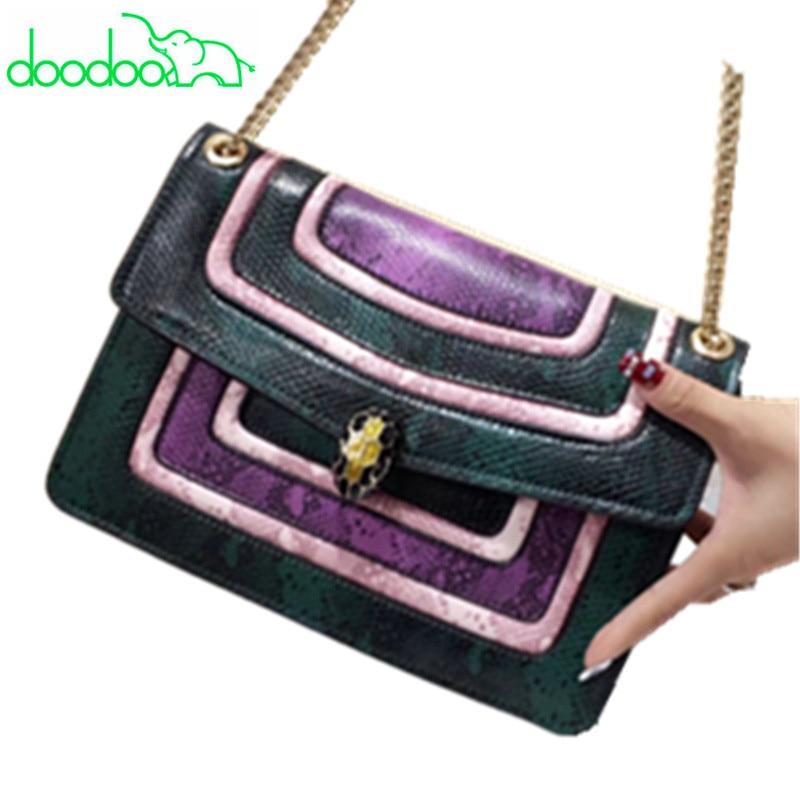 Famous Brand Women Messenger Bag Genuine Leather Serpentine Shoulder Crossbody Women Bag Fashion Design Chains Flap Sac A Main