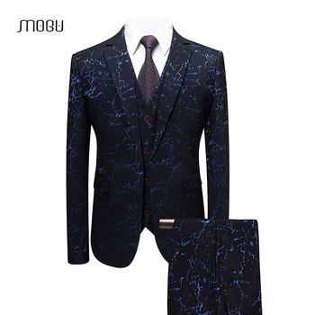 MOGU Mens Suits with Pants 3 Pieces Homme Costume  2018 Spring  Slim Fit Party  Stage Coat Luxury Floral Large Jacket 5XL 6XL